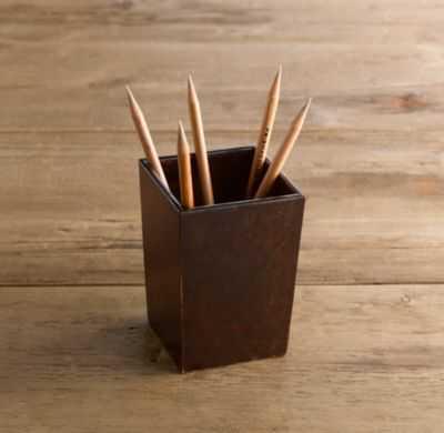 Artisan Leather Pencil Cup Chocolate - RH