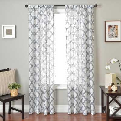 "Penby Burnout Rod Pocket Curtain Panel - Blue/White - 84"" L x 55"" W - Overstock"