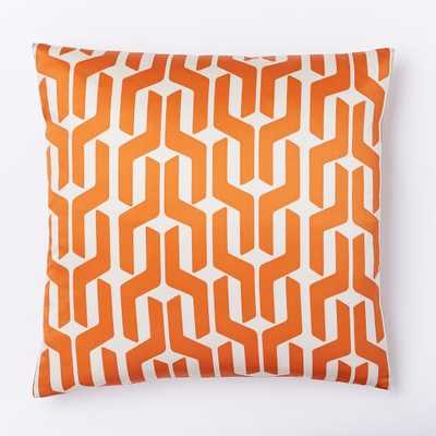 """Silk Stacked Geo Pillow Cover - Sweet Potato -18""""sq. - Insert Sold Separately - West Elm"""