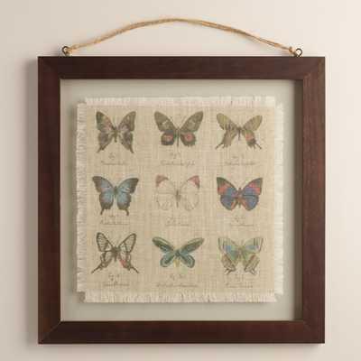 "Butterfly Linen Floated Wall Art-16""Sq., 4.25 lbs.-Framed - World Market/Cost Plus"