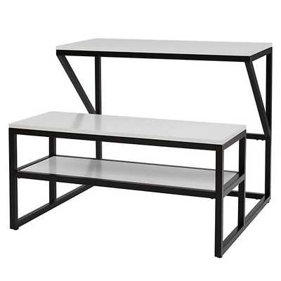 New School Desk With Bench (Black/White) - Land of Nod