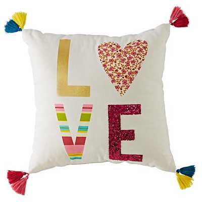 "Modern Mosaic Love Pillow Cover-16""x16""-Multi - Land of Nod"