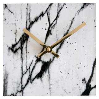 "6"" Marbleized Clock, White - One Kings Lane"