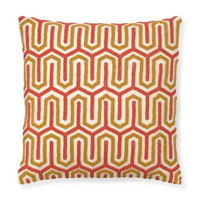 """Beaded Geo Pillow Cover, Coral/Yellow- 18"""" sq.- Insert sold separately. - Williams Sonoma Home"""