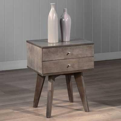 Jones Two-drawer Light Charcoal Nightstand - Overstock