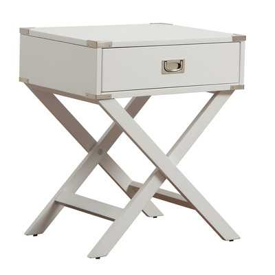 Neptune Campaign 1 Drawer End Table - White - Wayfair