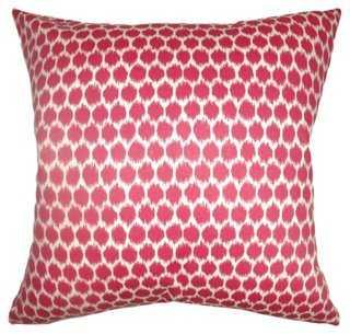 Daile 18x18 Cotton Pillow, Fuchsia- Down feather insert - One Kings Lane