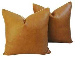 "Genuine Italian Leather Pillows, Pair-golden brown/tan/multi- 20"" sq- Goose feather/down insert - One Kings Lane"