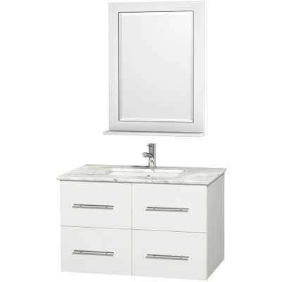 Wyndham Collection Centra White Undermount Single Sink Oak Bathroom Vanity with Natural Marble Top - Lowes