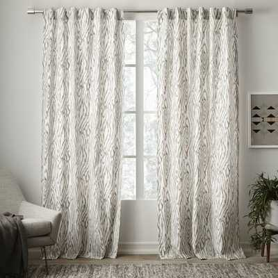 """Cotton Canvas Ikat Wood Grain Curtain -96""""l x 48""""w - West Elm"""