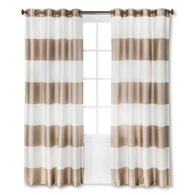 "Thresholdâ""¢ Bold Stripe Curtain Panel- 95""-Tan - Target"