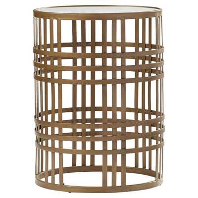 Riley Large Barrel Side Table with Weave and Removable Glass Top - AllModern