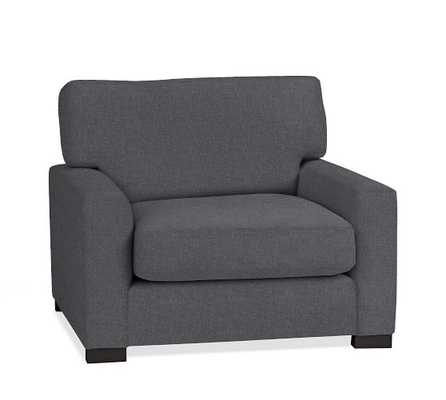 Turner Square Arm Upholstered Armchair - Linen Blend, Gunmetal Gray - Pottery Barn