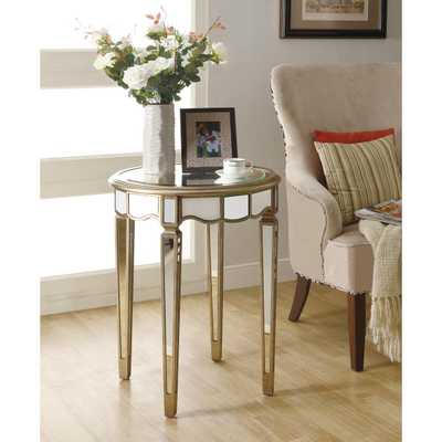 Mirrored  Scalloped Accent Table - Overstock