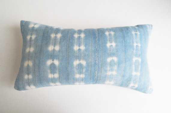 "Indigo Mudcloth Bohemian Lumbar Pillow - 11"" x20""- Insert Sold Separately - Etsy"