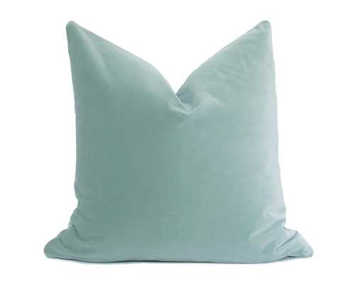 Belgium Velvet Seafoam Pillow Cover - 18x18, Insert Sold Separately - Willa Skye