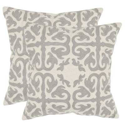 "Safavieh Morrocan Light Grey 22"" Square Throw Pillows (Set of 2)- Insert Sold Separately - Overstock"