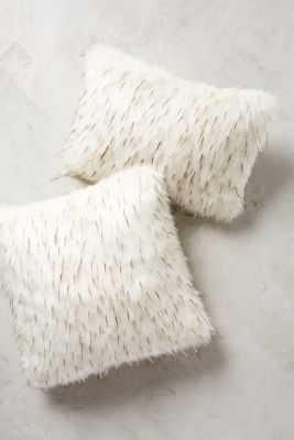 "Faux-Fur Pillow-12"" x 18""- White-feather down fil - Anthropologie"