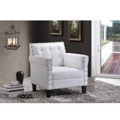 Dandridge Contemporary White Faux Leather Button Tufted Tub Chair - Overstock