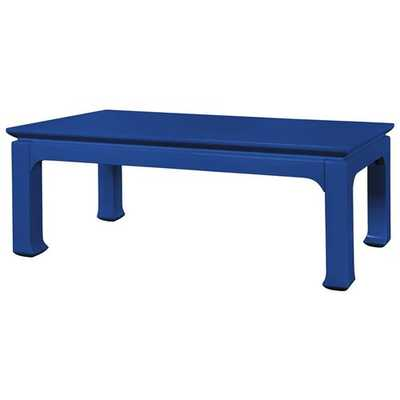 Bruna Hollywood Regency Blue Lacquer Chinoiserie Coffee Table - Kathy Kuo Home