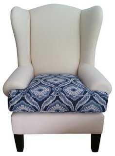 Linen Wingback Chair w/ Ikat Cushion - One Kings Lane