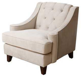 Addison Tufted Velvet Armchair, Beige - One Kings Lane