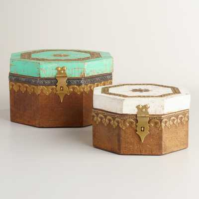 Hexagonal Carved Wood Box- Small - World Market/Cost Plus