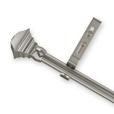 Adjustable Curtain Rod Set with Pewter Square Finial - Overstock