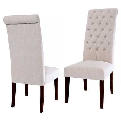 Christopher Knight Home Tall Natural Tufted Fabric Dining Chair  - Set of 2 - Overstock