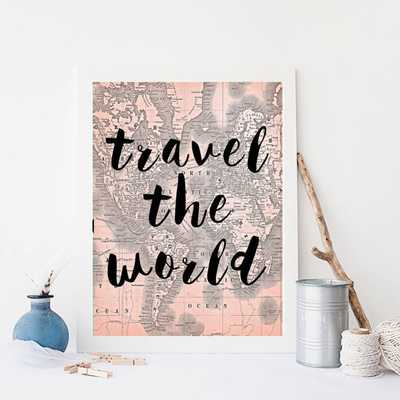 "Travel The World Typography World Map Wall Art - 8"" x 10"" - Unframed - Etsy"