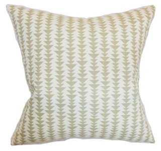 Jiri 18x18 Cotton Pillow, Dove - Feather/down insert - One Kings Lane