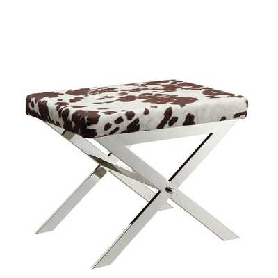 Southport Cowhide Print 22-inch Metal Bench - Overstock