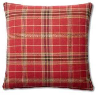 Plaid 20x20 Cotton Pillow, Red - One Kings Lane