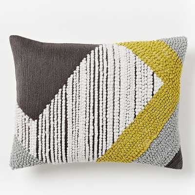 """Striped Angled Crewel Pillow Cover - Slate - 12""""w x 16""""l - Insert Sold Separately - West Elm"""