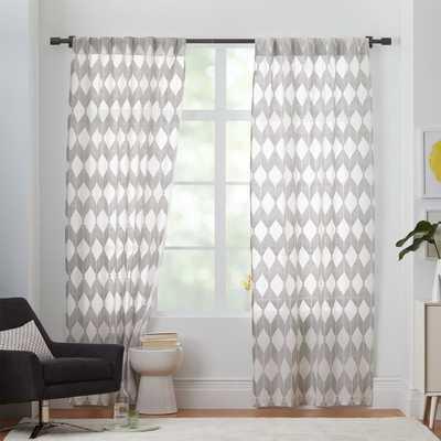 "Sheer Diamond 84"" Curtain - Pewter - West Elm"
