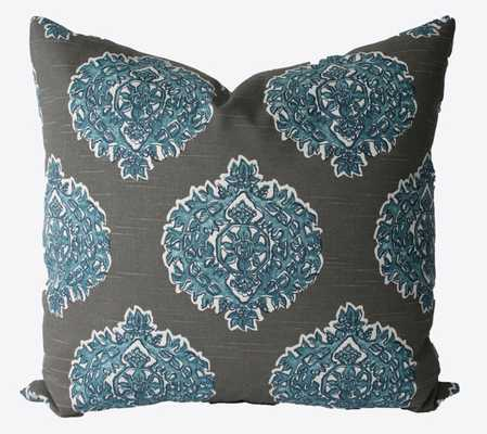 """Decorative Designer Lacefield Madras Medallion Grey, Blue Pillow Cover-18""""18""""-No Insert - Etsy"""