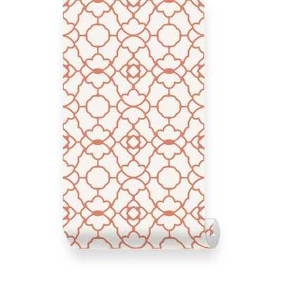 Small Trellis Pattern Orange Removable Wallpaper - Peel & Stick, Repositionable Fabric - Etsy