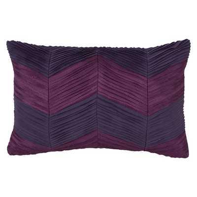 "Ziggurat Chevron Raw Edge Pleat Decorative Lumbar Pillow - 12"" H x 18"" W - Polyfill - AllModern"