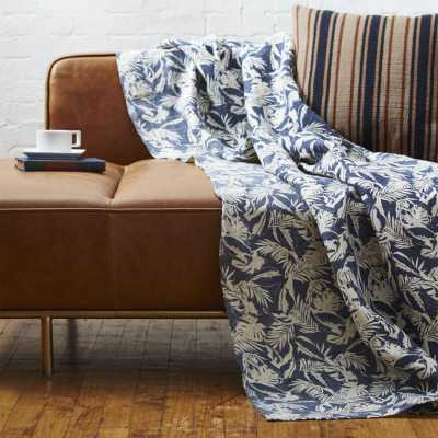 The Hill-Side tropical leaves linen throw - CB2