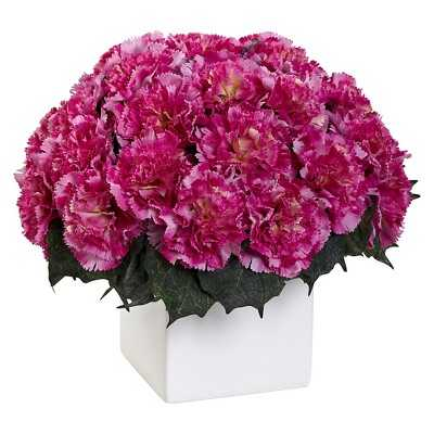 Nearly Natural Carnation Arrangement with Vase - Target