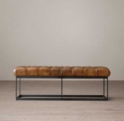 TUFTED LEATHER & METAL BENCH - Molasses - RH