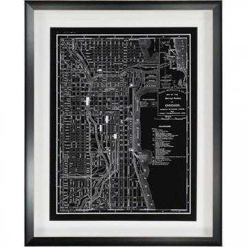 MAP OF CHICAGO 1895 WALL ART - 30x24, Framed - Home Decorators