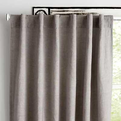 "63"" Grey Fresh Linen Curtain - Land of Nod"