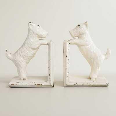 Whitewash Metal Scottie Dog Bookends Set of 2 - World Market/Cost Plus