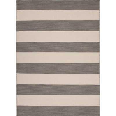 Handmade Flat Weave Stripe Pattern Gray/ Black Rug - Overstock