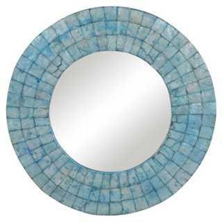 "24"" Capiz Shell Mirror, Turquoise - One Kings Lane"