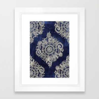 "Cream Floral Moroccan Pattern on Deep Indigo Ink - 10"" X 12"" - Framed - Society6"