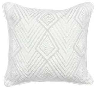Claudia 18x18 Cotton Pillow, White, down/feather insert - One Kings Lane