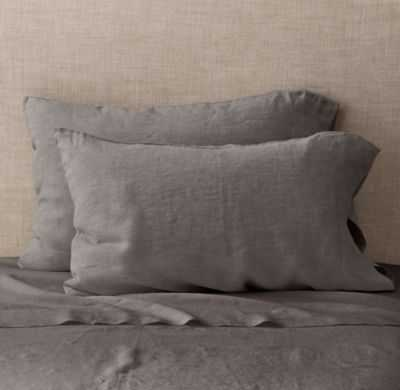"VINTAGE-WASHED BELGIAN LINEN PILLOWCASES (SET OF 2)- 20"" W x 40"" L - Insert Sold Separately - RH"