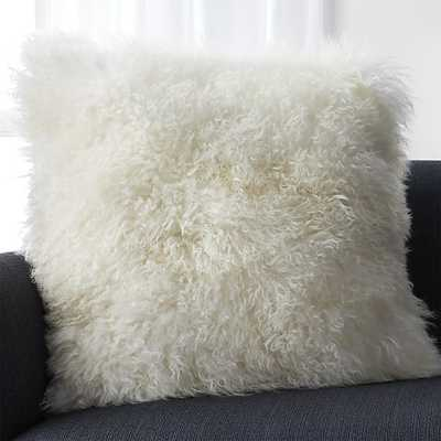 "Pelliccia Ivory 23"" Mongolian Lamb Fur Pillow with Feather-Down Insert - Crate and Barrel"